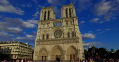 Paris, France. Circa August 2016 . Camera movement of the facade of tourists Stock Footage