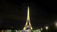 Paris, France. Circa August 2016 . Eiffel tower lights at night. Stock Footage