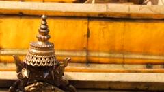 Set of Shiva, Buddha, Garuda statues and bas-reliefs on Swayambhunath stupa Stock Footage