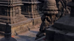 Stone ancient religious complex Monkey Temple, on the west of Kathmandu city Stock Footage