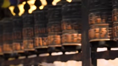Spinning prayer wheels close up. Kathmandu, Nepal Stock Footage