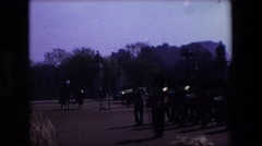 1969: british soldiers marching in a band with crowd gathering LONDON, ENGLAND Stock Footage