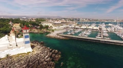 Lighthouse and marina of Cascais Portugal aerial view Stock Footage