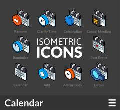 Isometric outline icons set Stock Illustration