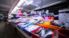 Different kinds of fresh and frozen fish at Kuala Lumpur market. Malaysia Stock Footage