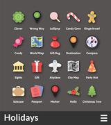 Flat material design icons set Stock Illustration
