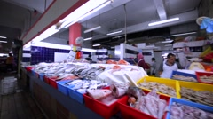 Different kinds of fresh delicious fish at Kuala Lumpur market. Malaysia Stock Footage