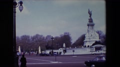 1969: aged statue of winged liberty in an urban park LONDON, ENGLAND Stock Footage