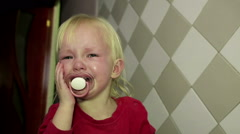 Abstract Closeup little Girl is Crying heavily Stock Footage