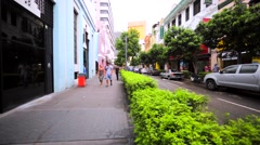 Walking in KL downtown along the road. Lovely streets and buildings with shops. Stock Footage