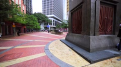 Lovely promenade area in KL downtown. Square surrounded with office buildings Stock Footage