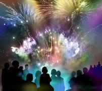 Bright sparkling fireworks and illustrated spectator silhouettes Stock Illustration