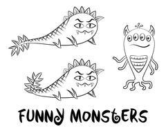 Contour Monsters Set Stock Illustration