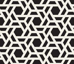 Vector Seamless Black And White Geometric Hexagon Grid Pattern Stock Illustration
