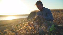 Happy male gently caressing old dog in field on sunset Stock Footage
