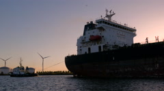 Tanker sailing to the VOPAK terminal Stock Footage