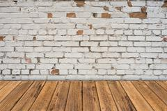 Empty table and white brick wall background, product display template Stock Photos