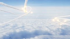 Two swarms of futuristic rocket trails fired over the clouds Stock Footage