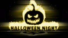Burning Pumpkin with text Halloween Night. Stock Footage