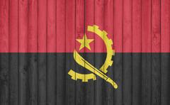Flag of Angola painted on wooden frame Stock Illustration