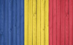 Flag of Romania painted on wooden frame Stock Illustration