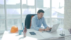 Businesspeople in office. Businesman bringing documents, boss signing Stock Footage