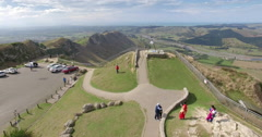 Aerial of tourists at the top of Te Mata Peak, New Zealand Stock Footage