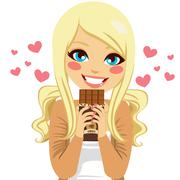 Blonde Chocolate Lover Stock Illustration