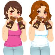 Fat Women Eating Chocolate Guilt Stock Illustration
