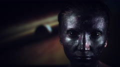4k Cosmic Shot of a Woman with Alien make-up on Galaxy Background Stock Footage