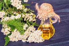 Essential yarrow oil Stock Photos