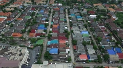 Aerial view moving over the house home village in bangkok Thailand Stock Footage