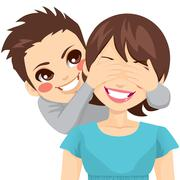 Son Covering Mother Eyes Stock Illustration