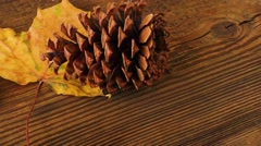Autumn dry yellow leave and pine cone over wooden background Stock Footage