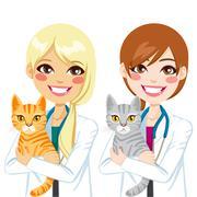 Veterinarian hugging Cat Stock Illustration