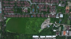 Aerial view moving over house home village in bangkok thailand Stock Footage