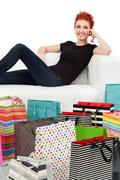 Young female and shopping bags Stock Photos