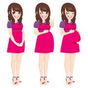 Asian Pregnant Woman Stock Illustration