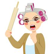 Senior Woman Holding Roll Pin Stock Illustration