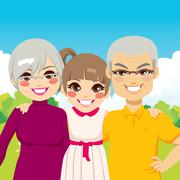 Granddaughter With Grandparents Stock Illustration
