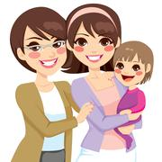Young Three Generation Family Stock Illustration