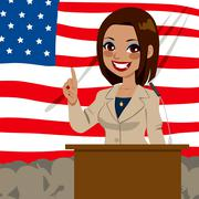 African American Politician Woman Flag Stock Illustration