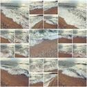 Waves Of Ocean On Sandy Beach. Background. Selective focus. Collage of many Stock Photos