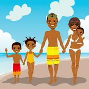 African American Family Beach Vacation Stock Illustration
