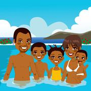 African American Family On Pool Stock Illustration