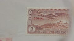 Spanish Republic Stamp Through Magnifying glass Stock Footage