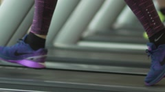 Sports Shoes Treadmill Feel Running Slow Motion Stock Footage