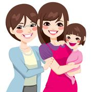 Three Generation Japanese Women Stock Illustration