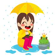 Girl Looking At Little Frog Stock Illustration