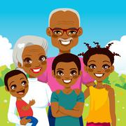 African American Grandparents With Grandchildren Stock Illustration